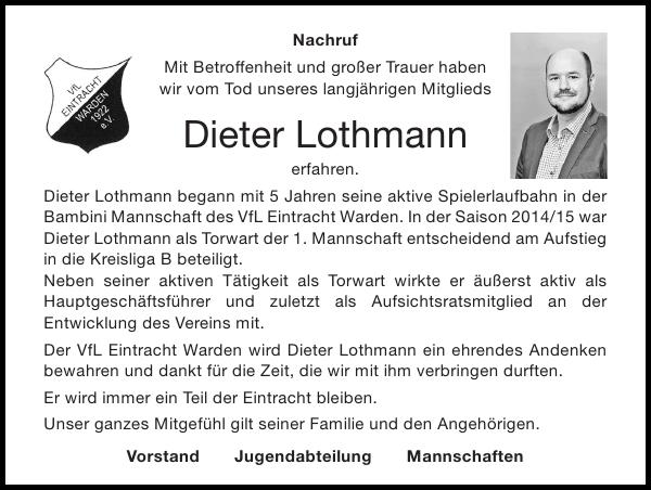 Nachruf Dieter Lothmann