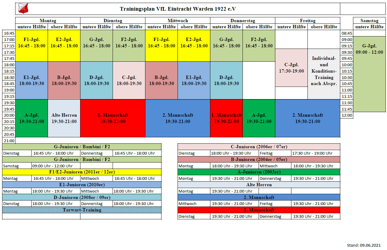 Trainingsplan 2020/21 - Juni